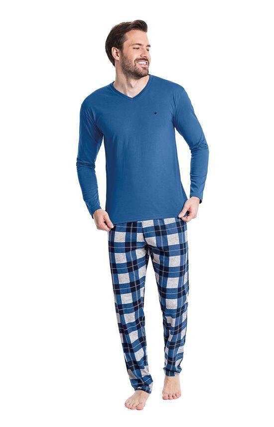 21560100a Pijama Longo Xadrez Masculino - malwee