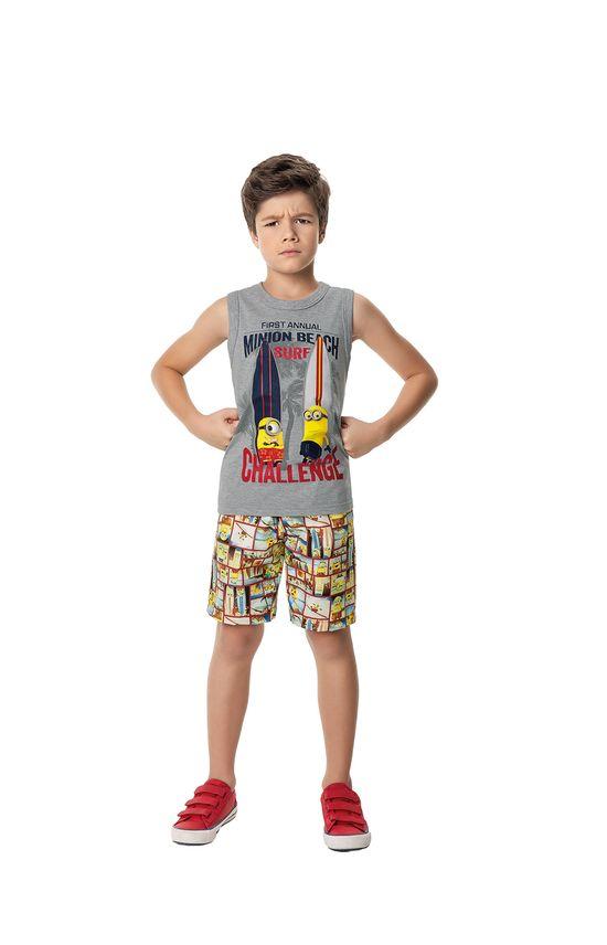 Conjunto Minions® Menino Malwee Kids Cinza Claro - 10