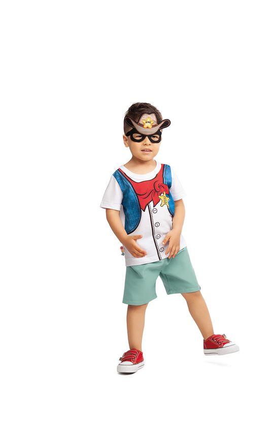 Conjunto Estampa Detalhada Infantil Malwee Kids Azul Claro