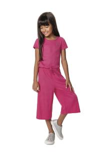 Roupa infantil feminina macacão pantacourt rosa